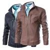New Men's Leather Jacket Washed PU Collar Leather Coat PY743