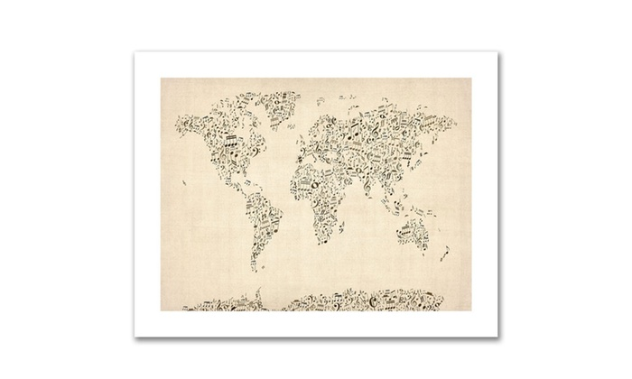 Michael tompsett music note world map canvas rolled art groupon groupon goods michael tompsett music note world map canvas rolled art gumiabroncs Choice Image