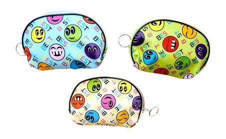 3 pack Emoji Zippered Change Purse with Key Ring (Goods Women's Fashion Accessories Handbags) photo