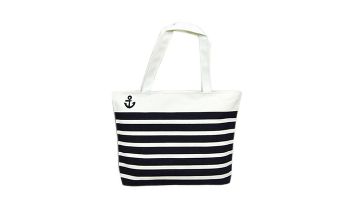 Striped Black and White Anchor Tote Beach Bag