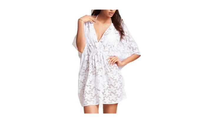 Women's Pullover Outdoor Sports Casual Cutwork Loose Cover-Ups  – White / one size