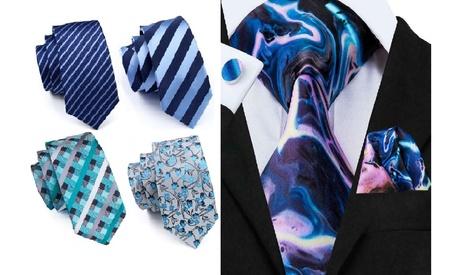 3 Piece Designer Silk Tie Set (Blue and Teal Shades)