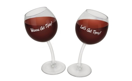 Big Mouth BMWGTP Tipsy Wine Glass, Set of 2 dff3fe94-32af-4f34-aa48-f8c0c2875e63