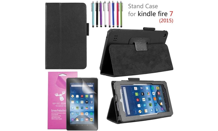 PU Leather Case Cover Stand for 2015 Amazon Fire 7 Tablet 5th Gen