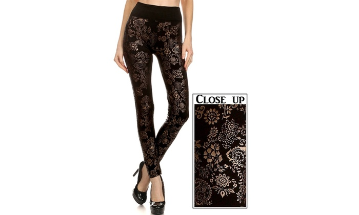 Golden Floral Paisley Leggings