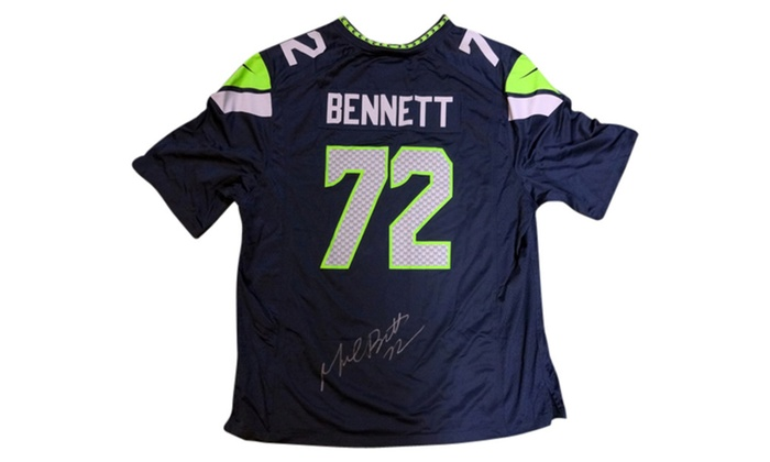 sports shoes db5e8 9e027 Autographed Michael Bennett Seattle Seahawks Blue Nike Jersey