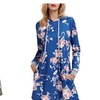Womens Long Sleeve Floral Print Hoodie Sweatshirt Dress with Pocket