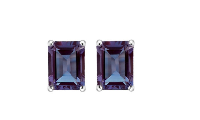 10630d890 Sterling Silver with Color Changing Alexandrite Emerald Cut Stud Earring |  Groupon