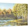 Green Autumn Lake Landscape Metal Wall Art 28x12