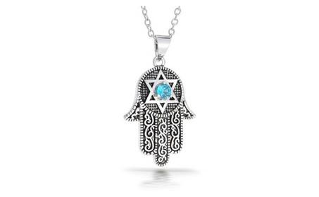 Bling Jewelry CZ Star of David Hamsa Pendant Necklace Rhodium Plated 077ce08a-1df9-4f30-a616-85dd50bd9a9e