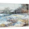 Village in Winter Landscape Metal Wall Art 28x12