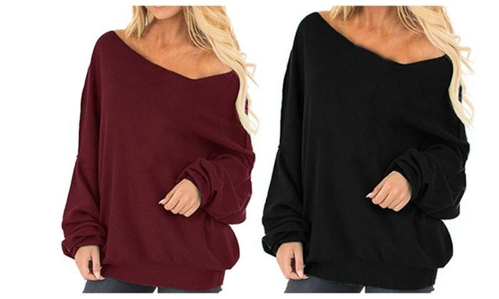 d820e773 Women's Off Shoulder Tops Baggy Shirt Long Sleeve Blouse Sweater 2X Red