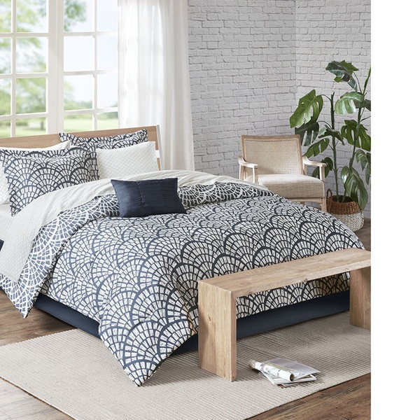 BEAUTIFUL MODERN ELEGANT BLUE NAVY GREY SEASHELL SCALLOP COMFORTER SET /& SHEETS
