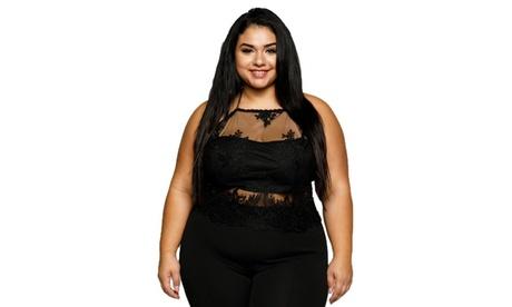 Xehar Women's Plus Size Crochet Lace Spaghetti Strap Halter Crop Top 44502889-7646-4573-a5dc-b86571ccbb61
