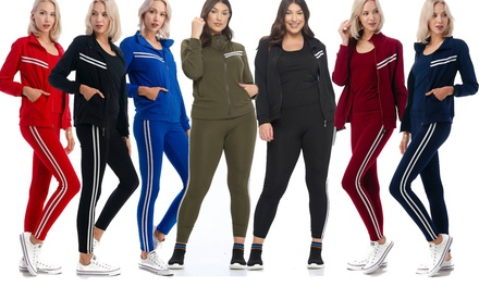 Women's 3 Piece Tracksuit Sets - Track Jacket Top with Rackback Tank and Legging Was: $89.99 Now: $23.99.