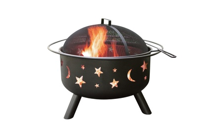 Galaxy moon and stars fire pit with mesh safety cover 014b7a89-b8d4-4329-a7e5-eebb377dc64a