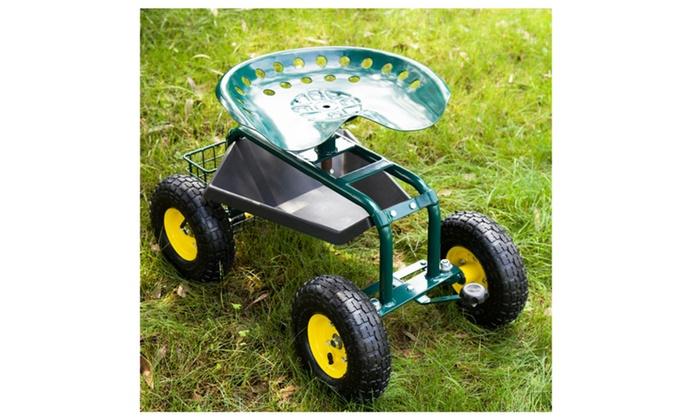 Garden Cart Rolling Work Seat Heavy Duty Gardening Planting Tool Tray ...