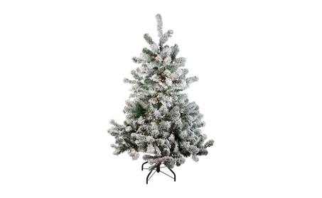 "4.5"" Pre-Lit Flocked Natural Emerald Artificial Christmas Tree - Warm 055f909b-8344-4809-a1d8-59551ebc1cbe"