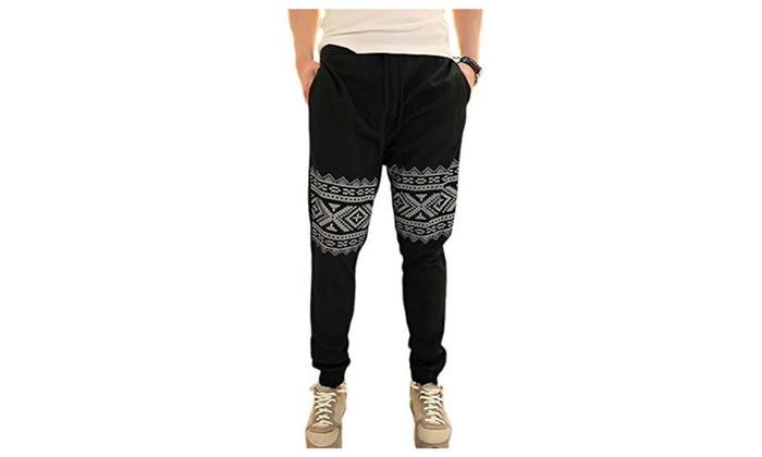 JINMIG Men's Harem Totem Hit-hop Dancing Casual Sweat Pants