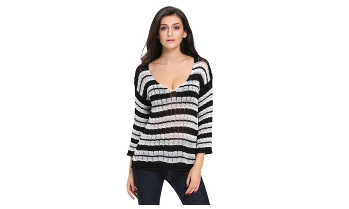 Black Stripes Long Sleeve Sheer Knit Sweater For Women – one size