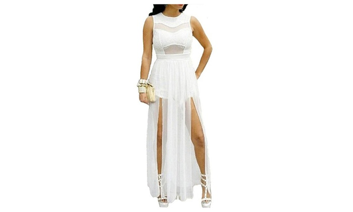 Plus Size Double Slits Lace Chiffon Jumpsuit Maxi Dress White
