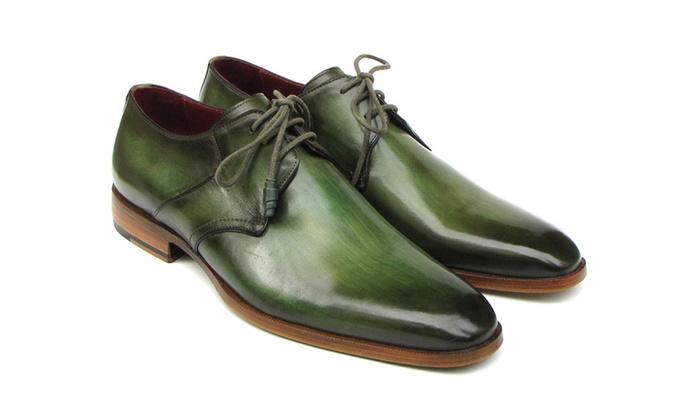 Paul Parkman Men's Green Hand-Painted Derby Shoes
