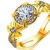 Three Cubic Zirconia Stone Halo Engagement Ring