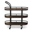 Karlin Black Textured Finish Metal Distressed Wood Serving Wine Cart