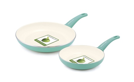 "GreenLife Soft Grip Ceramic Non-Stick 7"" and 10"" Open Frypan Set c3ead613-4f28-4ad0-be6f-ccafa12150b3"