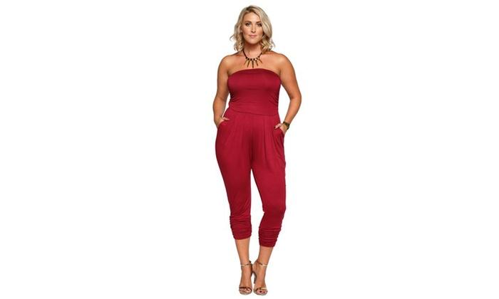 2658d090bab Xehar Women s Plus Size Strapless Tube Pleated Front Jumpsuit Romper ...