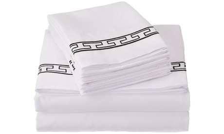 Superior 3000 Series Microfiber White/Regal Embroidery Sheet Set bd58d614-589b-4271-abd7-2a8c9e024a98