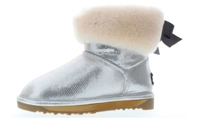 d16b25c2d6fe4 Echo L. Cali Girl s Shimmer Boots with Sheep Fur and Bow Tie