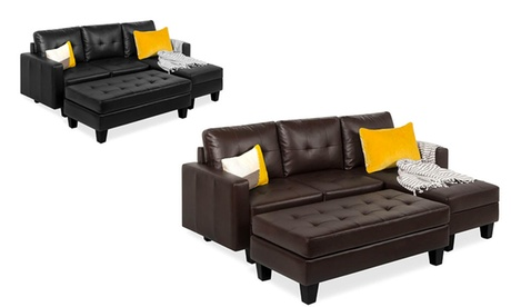 Tufted Faux Leather 3-Seat L-Shape Sectional Sofa Couch Set w/Chaise Lounge