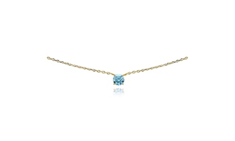 Yellow Gold Flash 925 Light Blue Choker Necklace set with European Crystals