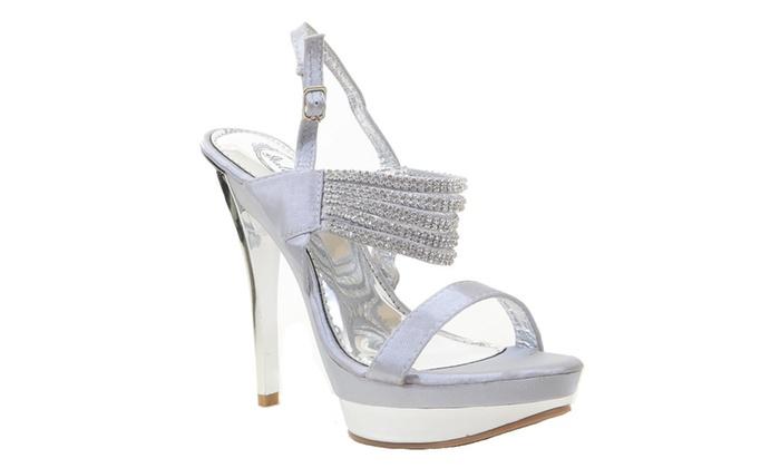 Rhinestone Strappy Platform High Heel Evening Dress Shoes