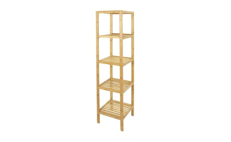 Bamboo Bathroom Shelf Organizer 5 Tier Storage Tower Furniture Home