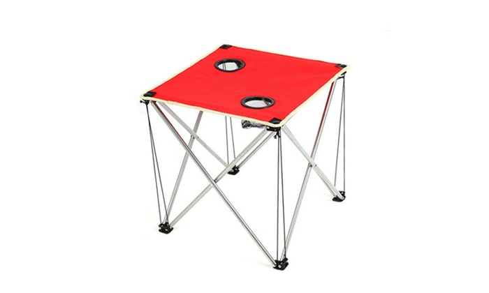 Folding Table Outdoor Camping Red Picnic Portable Desk Hiking Fish - red