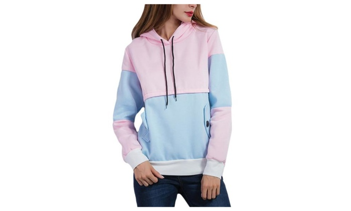 Women's Fashion Pullover Solid Hooded Straight Hem Hoodies