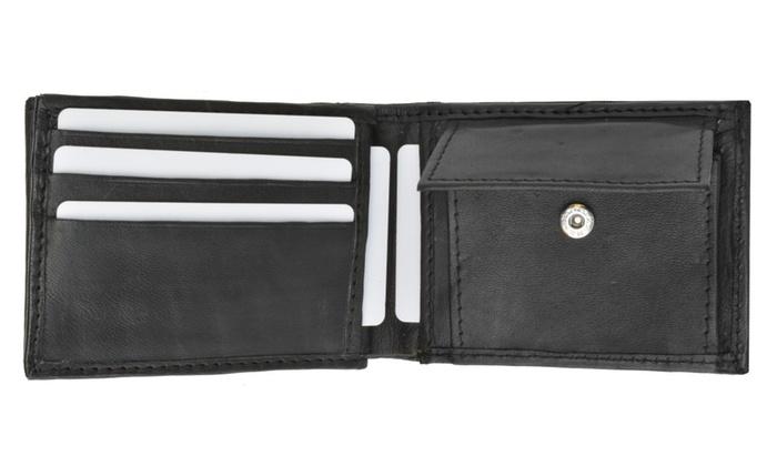 mens soft leather bifold card holder wallet woutside double id window - Bifold Card Holder