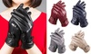 Womens Gloves Genuine Leather Solid Winter Warm Driving Thermal Gloves