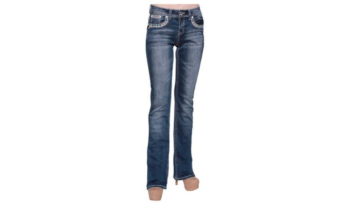 Beston Women's S145-PB Dark Wash Rhinestone Stitched Boot Cut Jeans