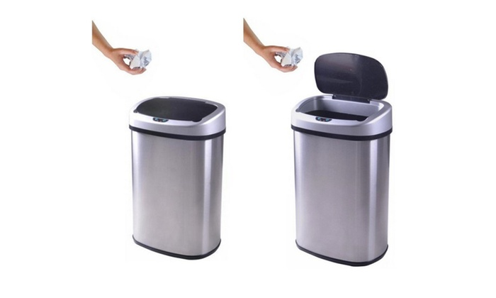 Stainless Steel Trash Can 13 Gallon Touch Free Sensor Automatic 50R ...