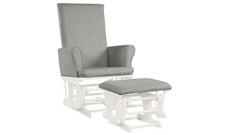 Baby Nursery Relax Rocker Rocking Chair Glider & Ottoman Set w/Cushion