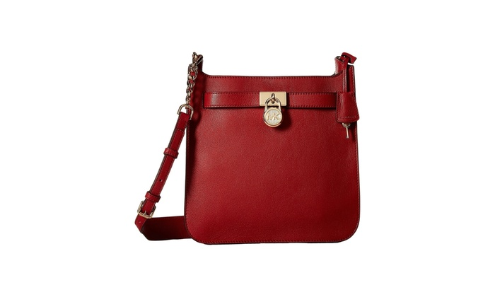 9f24087effe336 Michael Kors Hamilton Medium Leather Messenger - Burnt Red - 30T7GHMM2L-361