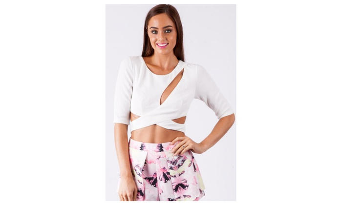 Women's White Cut Out Front Cross Top