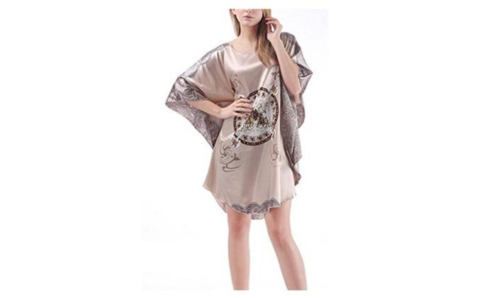 4PING Ladies Summer Short Sleeves Silk Pajamas Bat Shirt Skirt
