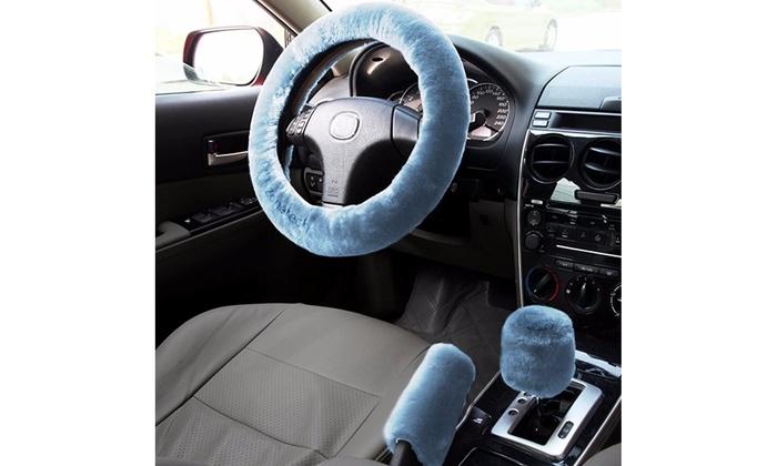 Car Steering Wheel protection cover Non-slip Handbrake Gear Shift Cover Plush