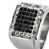 Stainless Steel Micro-pave Black and Cubic Zirconia Ring