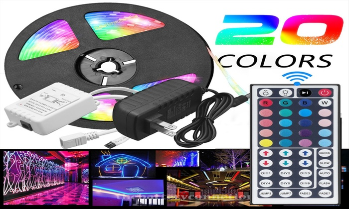 5M 44 Key Remote 5050 RGB LED Strip Light SMD Waterproof US 12V Power Full Kit
