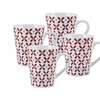Red Petal Coffee Mugs, Set of 4